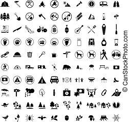100 Camping icons set