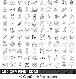 100 camping icons set, outline style - 100 camping set in...