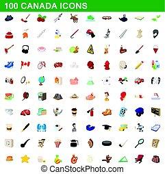 100 canada icons set, cartoon style