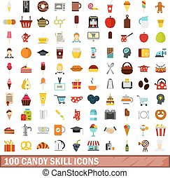 100 candy skill icons set, flat style