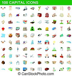 100 capital icons set, cartoon style