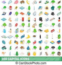 100 capital icons set, isometric 3d style
