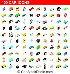 100 car icons set, isometric 3d style - 100 car icons set in...