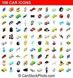 100 car icons set, isometric 3d style