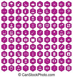 100 care icons hexagon violet