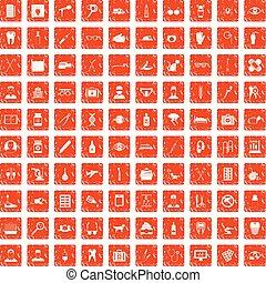 100 care icons set grunge orange