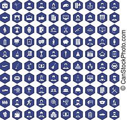 100 career icons hexagon purple