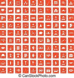 100 career icons set grunge orange