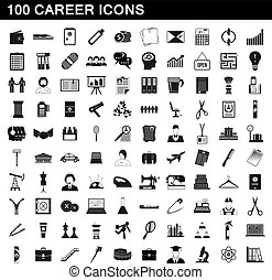 100 career icons set, simple style