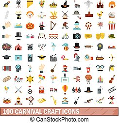100 carnival craft icons set, flat style