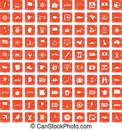 100 cartography icons set grunge orange