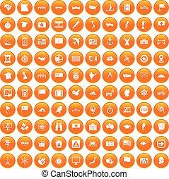 100 cartography icons set orange
