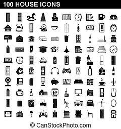 100, casa, estilo, jogo, ícones simples