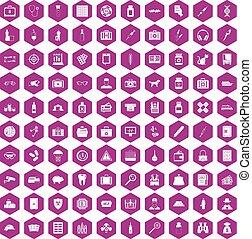 100 case icons hexagon violet