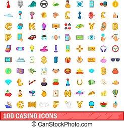 100 casino icons set, cartoon style