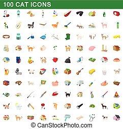 100 cat icons set, cartoon style