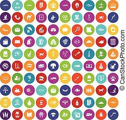 100 cat icons set color