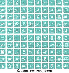 100 cat icons set grunge blue
