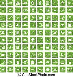 100 cat icons set grunge green