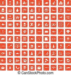100 cat icons set grunge orange