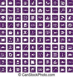 100 cat icons set grunge purple