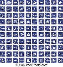100 cat icons set grunge sapphire