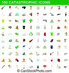 100 catastrophic icons set, cartoon style