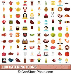 100 catering icons set, flat style