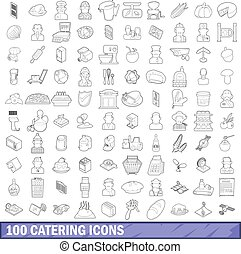 100 catering icons set, outline style