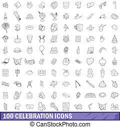 100 celebration icons set, outline style