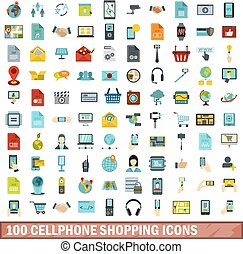 100 cellphone shopping icons set, flat style