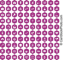 100 charity icons hexagon violet