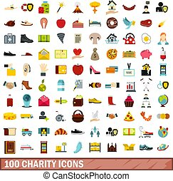 100 charity icons set, flat style