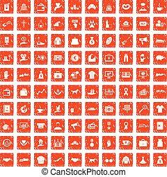 100 charity icons set grunge orange