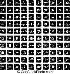 100 charity icons set, grunge style