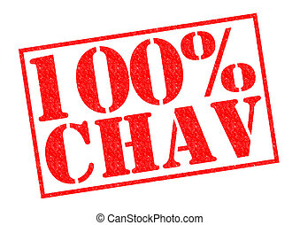 100% CHAV red Rubber Stamp over a white background.