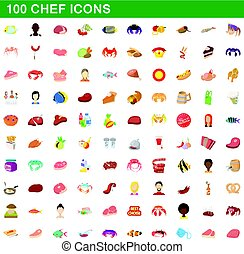 100 chef icons set, cartoon style