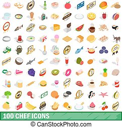 100 chef icons set, isometric 3d style
