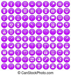 100 chemical industry icons set purple - 100 chemical...