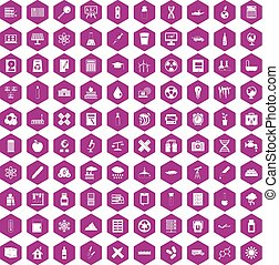 100 chemistry icons hexagon violet
