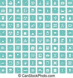 100 chemistry icons set grunge blue