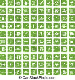 100 chemistry icons set grunge green
