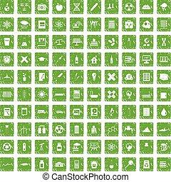 100 chemistry icons set grunge green