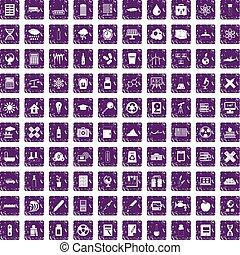 100 chemistry icons set grunge purple