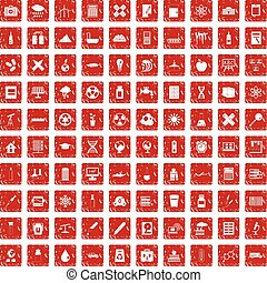 100 chemistry icons set grunge red