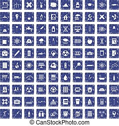 100 chemistry icons set grunge sapphire