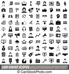100 chief icons set, simple style