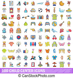 100 child center icons set, cartoon style