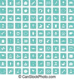 100 child center icons set grunge blue - 100 child center...