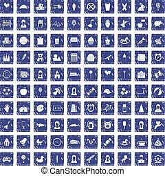 100 child center icons set grunge sapphire - 100 child...